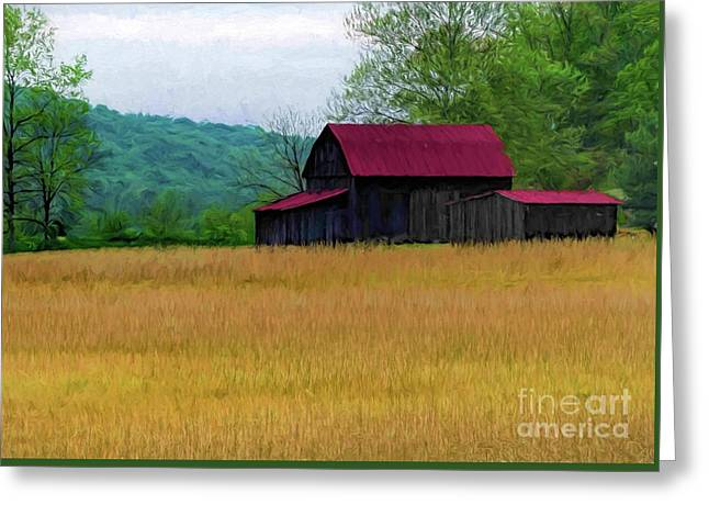 Red Roof Barn Greeting Card by Elijah Knight