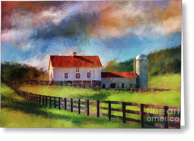 Greeting Card featuring the digital art Red Roof Barn by Lois Bryan