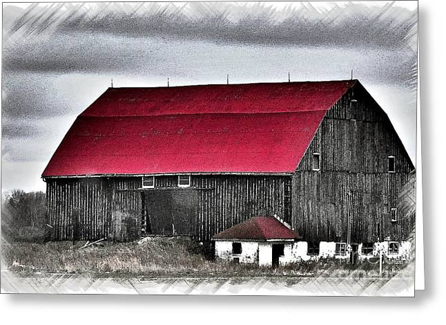 Red Roof Barn Greeting Card by Miss Dawn