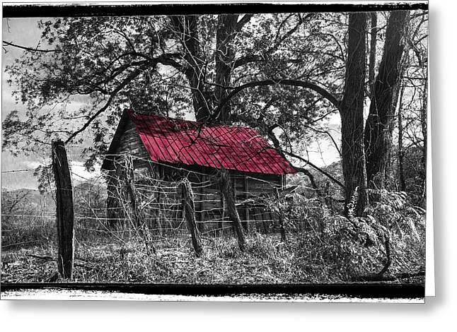 Red Roof Black And White Greeting Card by Debra and Dave Vanderlaan