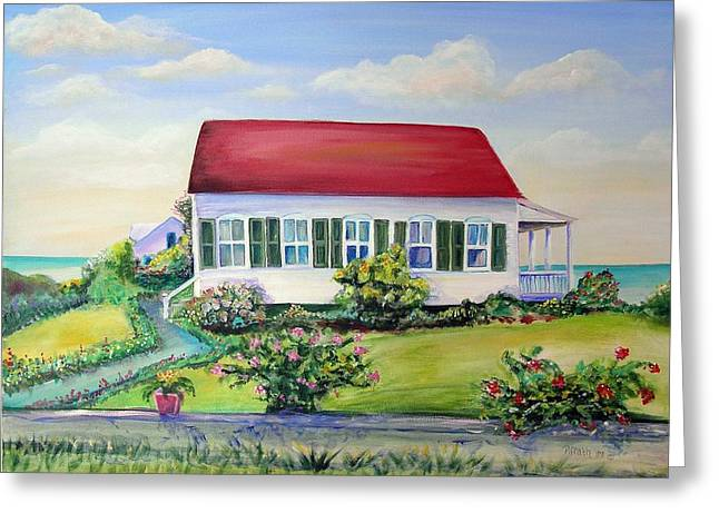 Greeting Card featuring the painting Red Roof Inn by Patricia Piffath