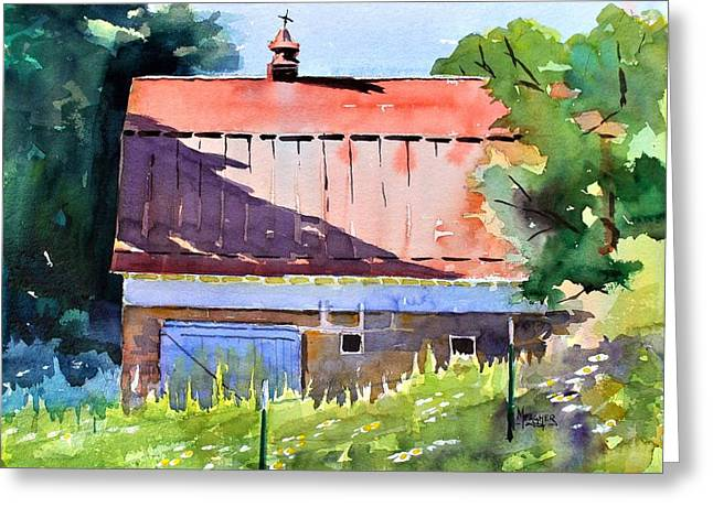 Red Roof Shadow Greeting Card by Spencer Meagher
