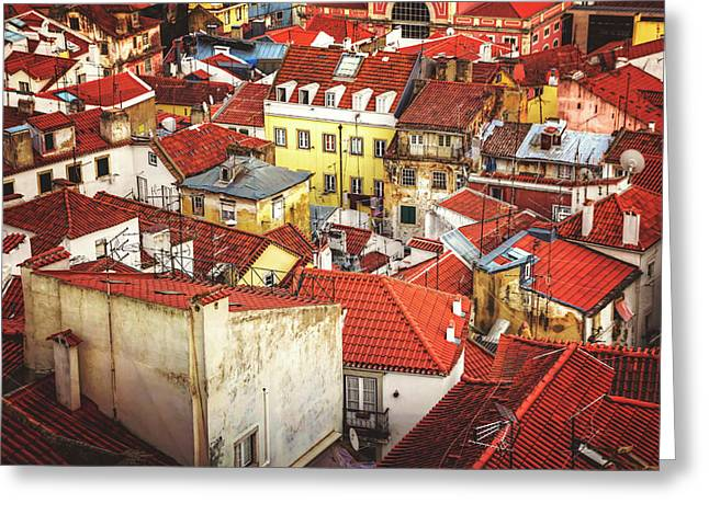 Red Rooftops Of Old Alfama Lisbon  Greeting Card