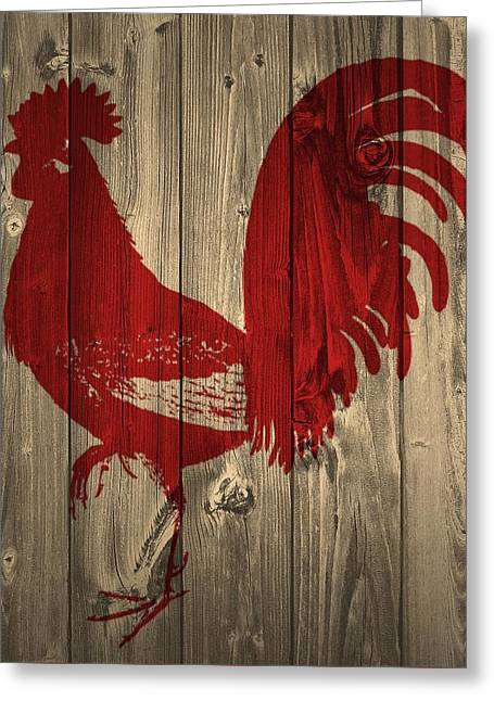 Red Rooster Barn Door Greeting Card