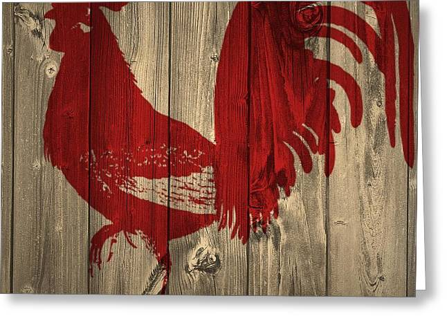 Red Rooster Barn Door Greeting Card by Dan Sproul