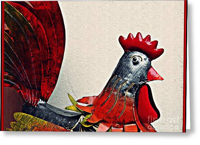 Red Rooster In Metal Greeting Card