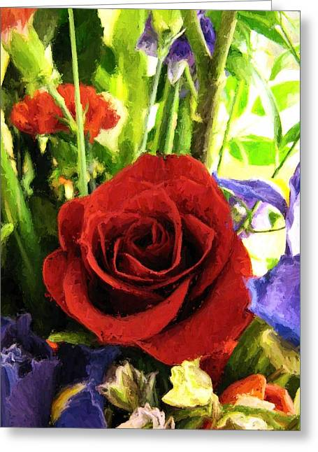Red Rose And Flowers Greeting Card