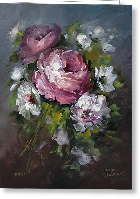 Red Rose And White Peony Greeting Card by David Jansen