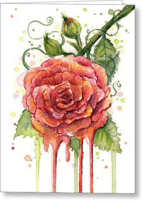 Red Rose Dripping Watercolor  Greeting Card by Olga Shvartsur