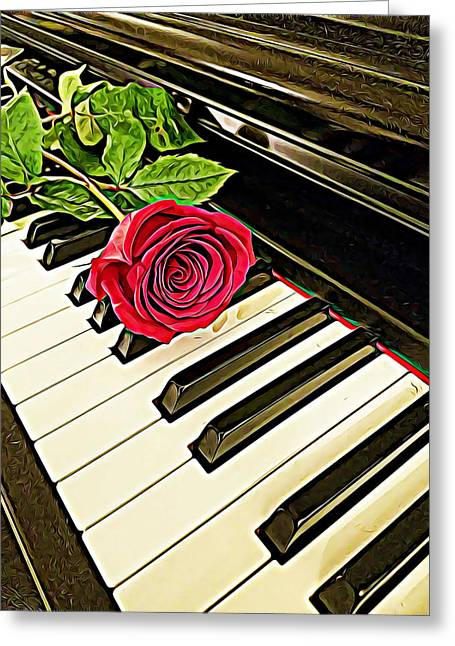 Red Rose On A Piano  Greeting Card
