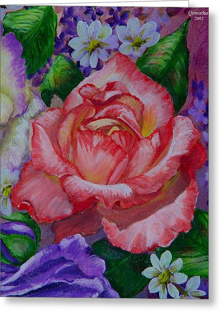 Greeting Card featuring the painting Red Rose by Quwatha Valentine