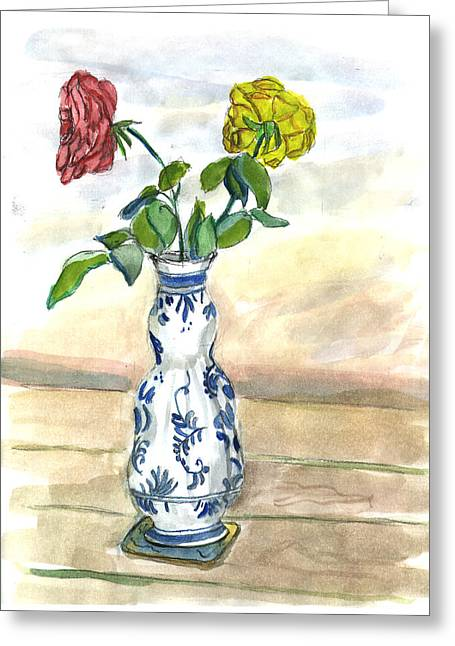 Red Rose Yellow Rose Greeting Card by Kevin Callahan