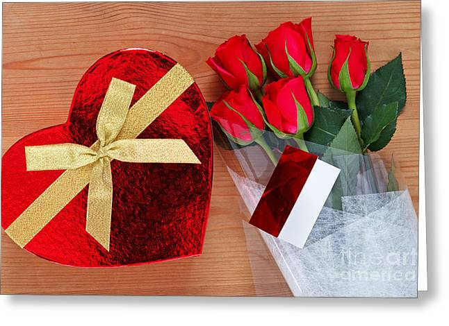Red Roses And Chocolates Greeting Card