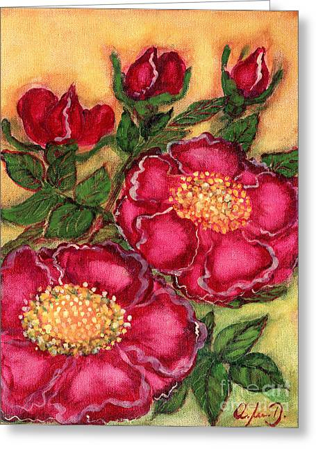 Red Roses Greeting Card by Anna Folkartanna Maciejewska-Dyba