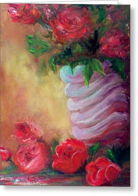 Red Roses For A Blue Vase Greeting Card by Lynda McDonald