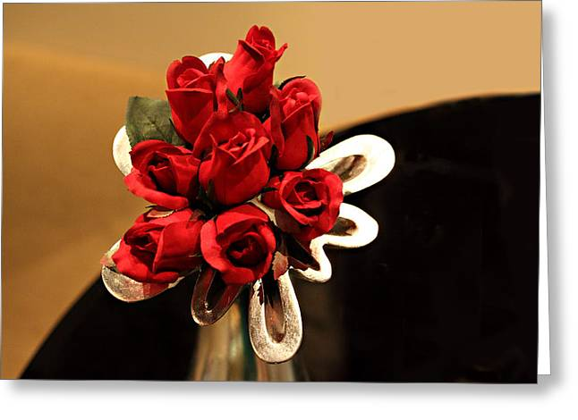 Red Roses In Silver Vase Greeting Card by Linda Phelps
