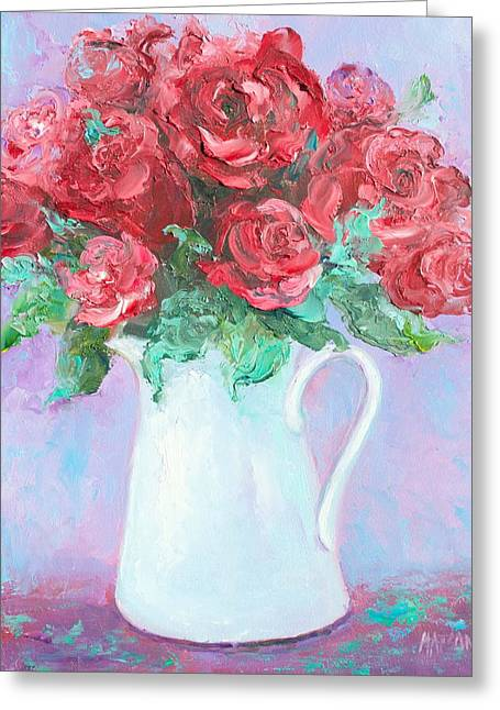 Red Roses In White Jug Greeting Card by Jan Matson