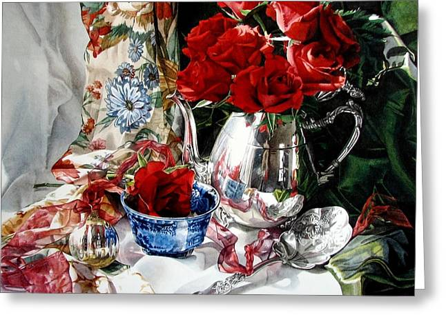 Red Roses Greeting Card by Kimberly Meuse