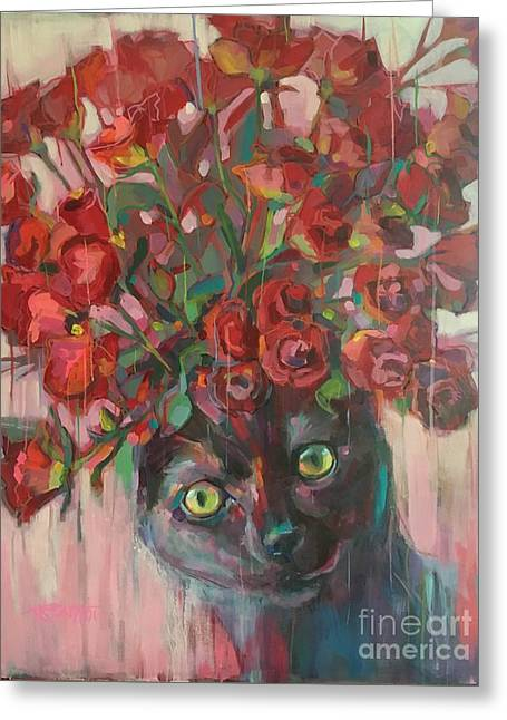 Red Roses Greeting Card by Kimberly Santini