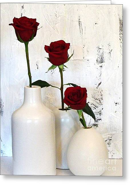 Red Roses On White Greeting Card by Marsha Heiken