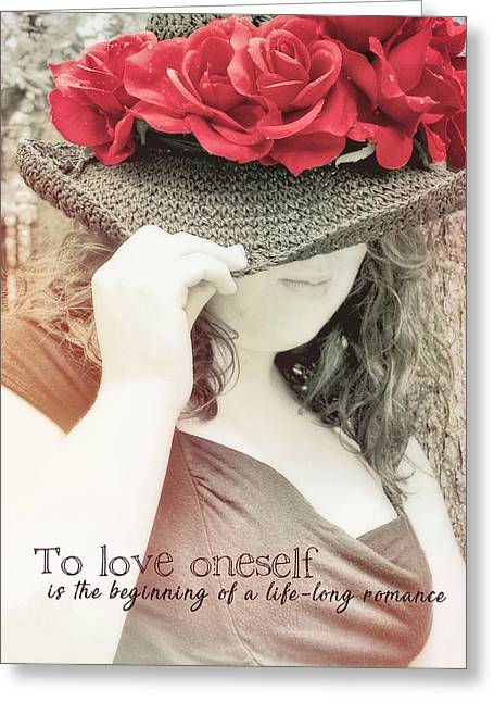 Red Roses Quote Greeting Card by JAMART Photography