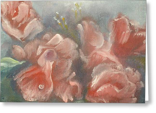 Greeting Card featuring the painting Red Roses by Raymond Doward