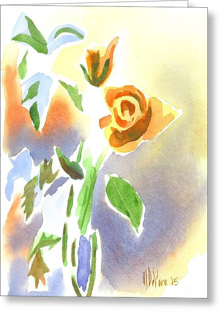 Red Roses With Holly In A Vase Greeting Card by Kip DeVore