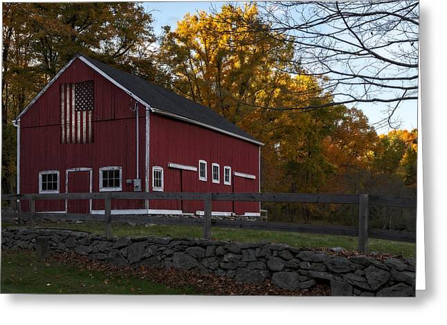 Red Rustic Barn Greeting Card by Susan Candelario