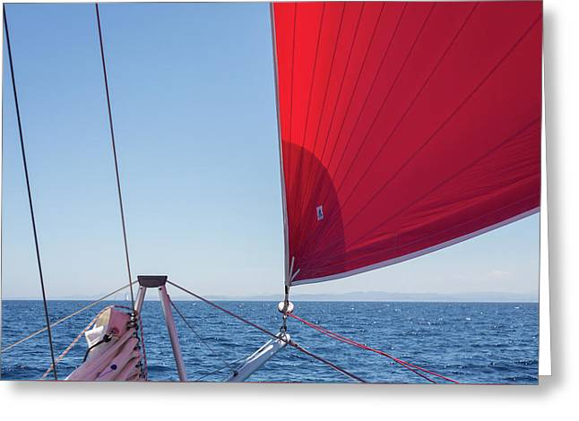 Greeting Card featuring the photograph Red Sail On A Catamaran by Clare Bambers