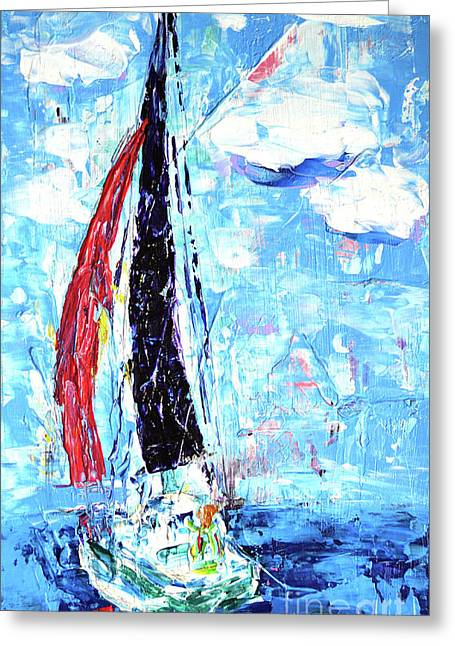Red Sail Greeting Card by Lynda Cookson