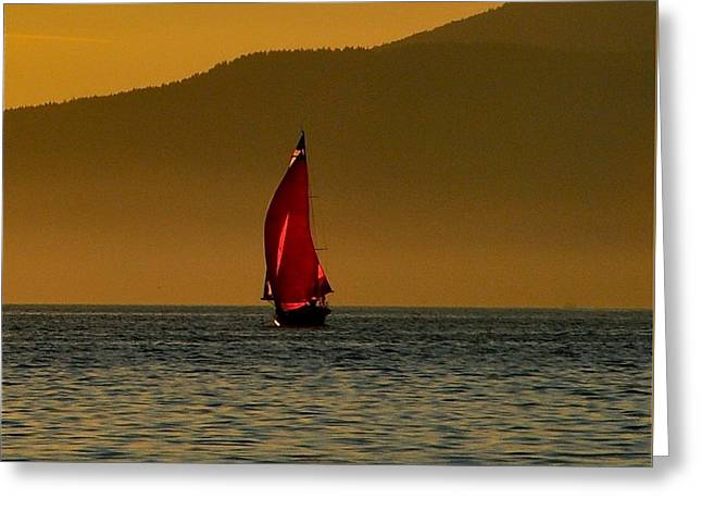 Red Sailboat Greeting Card