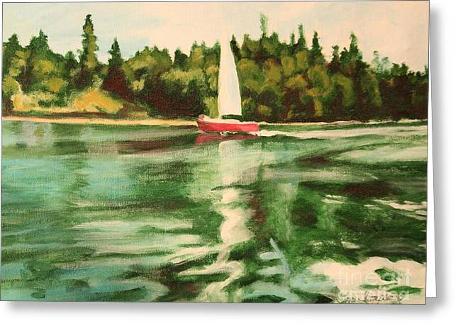 Red Sailboat North End Of Harstene Island Greeting Card by Terri Thompson