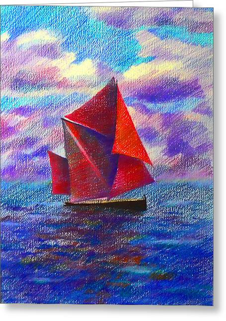Red Sails Greeting Card by Anastasia Michaels