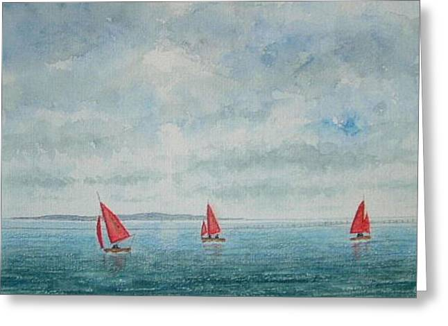 Red Sails And Hilbre Island Greeting Card