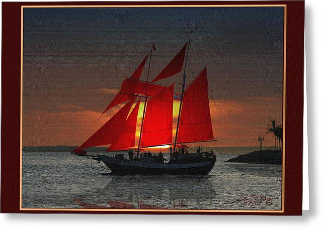 red sails at sunset in Key West Greeting Card by John D Breen