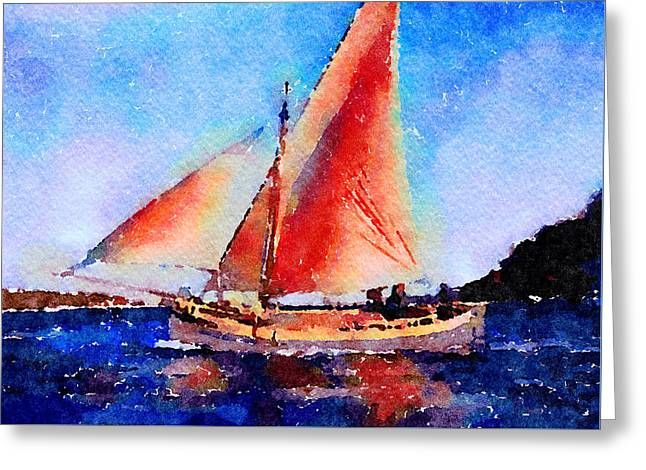Greeting Card featuring the painting Red Sails Delight by Angela Treat Lyon