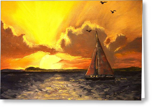 Red Sails In The Sunset Greeting Card by Bobbie Roberts