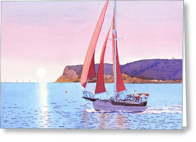 Red Sails In The Sunset Pt Loma Greeting Card
