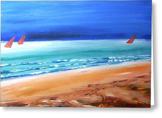 Greeting Card featuring the painting Red Sails by Winsome Gunning