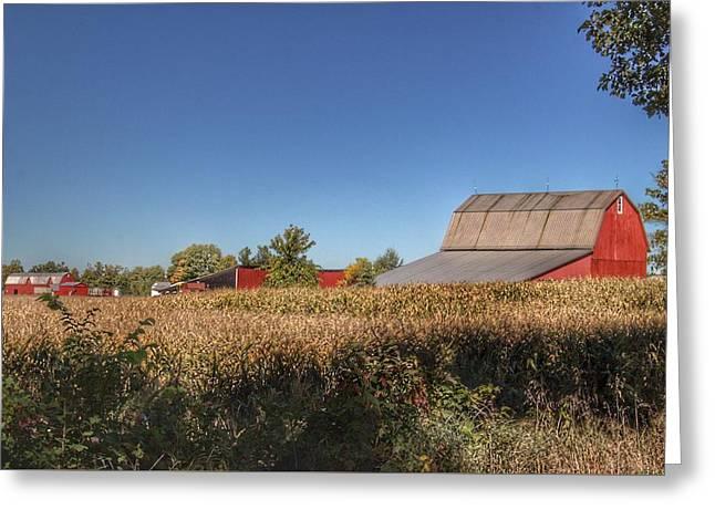 0042 - Red Saltbox Barn Greeting Card