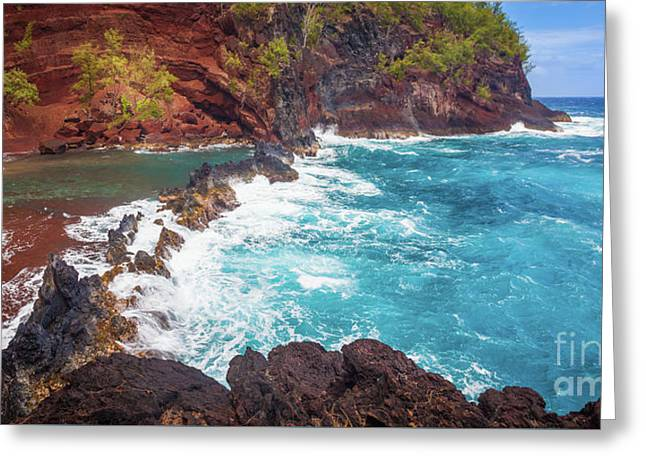 Red Sand Beach Panorama Greeting Card by Inge Johnsson