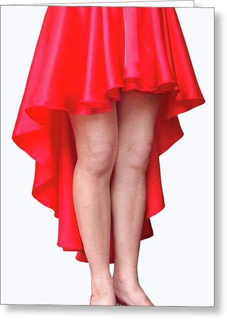 Red Satin High-low Skirt. Ameynra Design. Pic-1 Greeting Card by Sofia Metal Queen