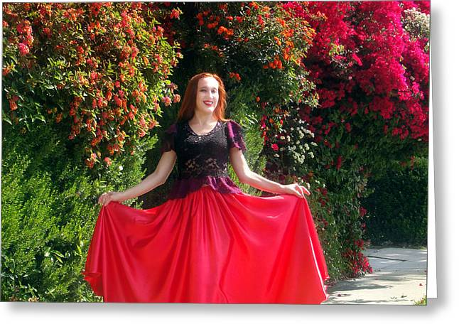 Red Satin Maxi Skirt. Ameynra Style - By Sofia Greeting Card by Sofia Metal Queen