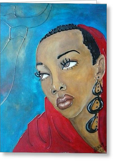 Red Scarf Greeting Card by Jenny Pickens