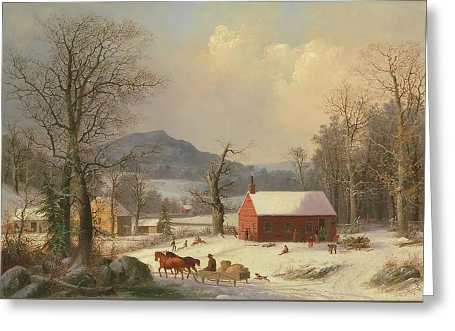 Red School House, Country Scene Greeting Card