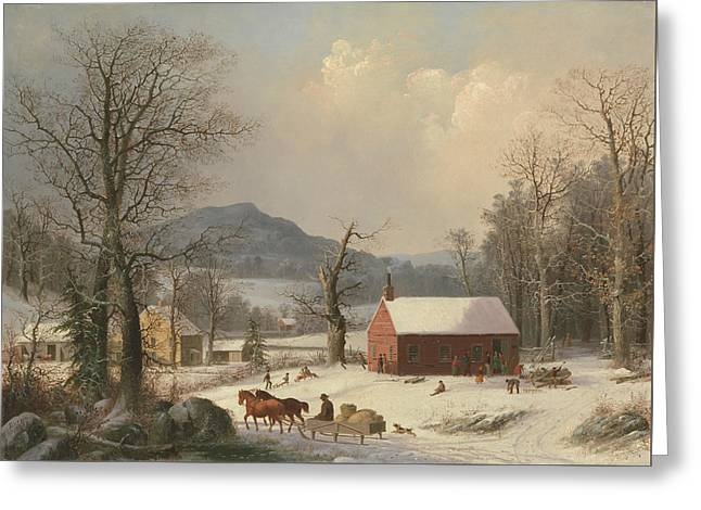 Red School House  Greeting Card by George Henry Durrie
