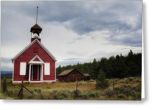 Red Schoolhouse Greeting Card by Alison Sherrow I AgedPage