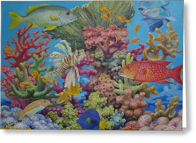 Red Sea Reef Greeting Card by Henry David Potwin