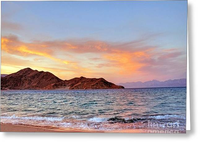 Red Sea Sunset On The Egyptian Coast Greeting Card by Chris Smith