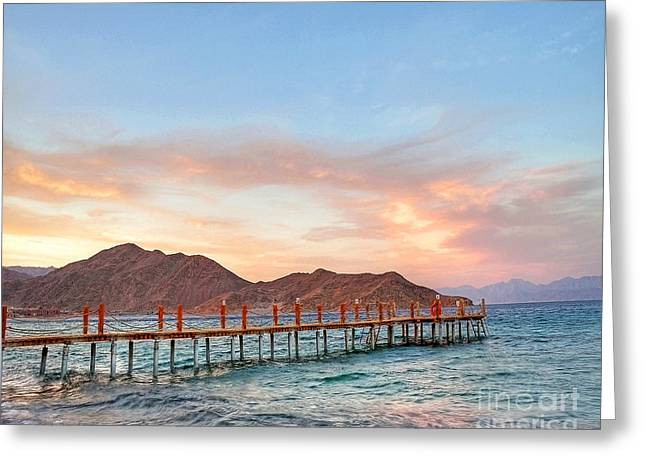 Red Sea Sunset Over Harbour Greeting Card by Chris Smith